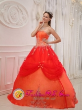 2013 Chiquimulilla Guatemala Appliques A-line Affordable Orange Red For Sweet Quinceanera Dress Taffeta and Tulle for Formal Evening Style QDZY525FOR
