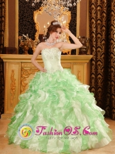 2013 Flores Guatemala Sweetheart Neckline Beaded and Ruffles Decorate Apple Green Quinceanera Dress for Style QDZY019FOR