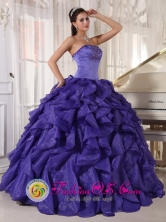 2013 Fraijanes Guatemala Wholesaler Purple Strapless Satin and Organza Quinceanera Dress with ruffles and beads For Graduation Style PDZY579FOR