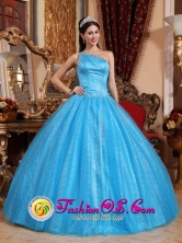2013 Huehuetenango Guatemala One Shoulder Beaded Decorate Asymmetrical New Style Teal Quinceanera Dress Tulle and Taffeta Ball Gown For Style QDZY731FOR
