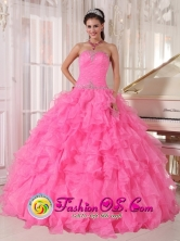 2013 Mazatenango Guatemala Inexpensive Rose Pink Quinceanera Dress With Strapless Custom Made with Ruffles and Beading for Quinceanera day Style PDZY724FOR