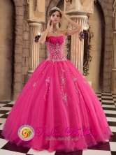 2013 Mixco Guatemala Ball Gown Quinceanera Dress With Beaded Decorate Hot Pink Organza Style QDZY209FOR