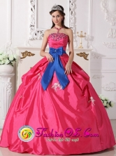 2013 San Juan Sacatepquez Guatemala Customer Made Coral Red Ball Gown Sash Appliques and Beaded Decorate Bust Sweet 16 Dresses With a blue bow Style QDZY458FOR