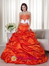 2013 San Lucas Sacatepquez Guatemala Classical Appliques Decorate Bodice Orange Red A-line Sweetheart Floor-length Taffeta Quinceanera Dress for Sweet 16 Style MLXN058FOR