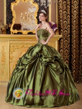 2013 San Pedro Carcha Guatemala Brand New Olive Green Quinceanera Gown Clearrance With Appliques And Pick-ups Style QDZY149FOR