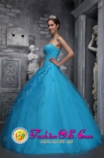 2013 Santo Andre Brazil Sweetheart Applique Decorate Baby Blue Tulle Quinceanera Dresses With  A-line Style In Oklahoma in Summer Style ZYLJ02FOR