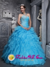 2013 Sorocaba Brazil In Clearance Beaded Decorate Organza Beautiful Sweetheart Quinceanera Dress For Style ZYLJ05FOR