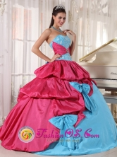 2013 Sumpango Guatemala Aqua Blue and Hot Pink Quinceanera Dress in pick ups and bowknot for Graduation Style PDZY385FOR