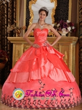 2013 Suzano Brazil Watermelon Red For Affordable Appliques And Ruffles Decorate Sweetheart Quinceanera Dress Style QDZY199FOR