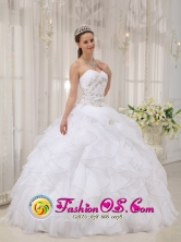2013 Villa Canales Guatemala Modest White Ruffles Elegant 2013 Spring Quinceanera Dress With Sweetheart Appliques and Ruch Organza Style QDZY479FOR
