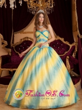 2013 Frutillar Chile Quinceanera Dress Ombre Color Sweetheart Beading Decorate Organza Ball Gown Style QDZY066FOR