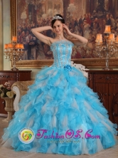 2013 Penco Chile With colorful Cheap strapless Quinceanera Dress Organza Appliques Decorate Gown Style QDZY459FOR