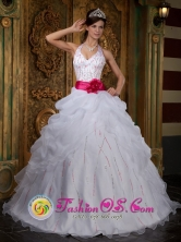 2013 Santa Barbara Chile A-line White Halter Beaded Decorate Bust and Contrasting Sash Quinceanera Dress With Pick-ups Organza Floor-length Style QDZY222FOR