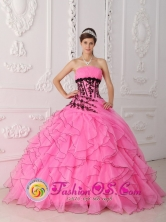 2013 Sweet Hot Pink Quinceanera Dress With Appliques and Ruffled Decorate In Coelemu Chile Style QDZY290FOR