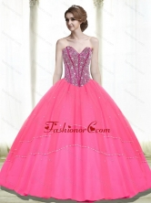 2015 Beautiful Ball Gown Beading Sweetheart Hot Pink Quinceanera Dresses QDDTA65002FOR