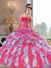 2015 Beautiful Ball Gown Quinceanera Dress with Appliques and Ruffles QDDTB27002FOR