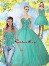 2015 Beautiful Beading and Appliques Turquoise Sweetheart Quinceanera Dresses QDDTA69001FOR