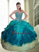2015 Beautiful Beading and Ruffles Sweetheart Quinceanera Dresses in Multi Color QDDTA13002FOR