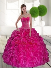 2015 Beautiful Hot Pink Quinceanera Gown with Ruffles and Appliques QDDTB7002FOR