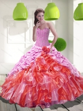 2015 Beautiful Pick Ups and Ruffles Sweet 15 Dresses in Multi Color QDDTD13002FOR