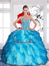 2015 Beautiful Sweetheart Multi Color Quinceanera Dresses with Beading and Ruffled Layers QDDTA14002FOR