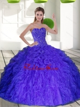 2015 Beautiful Sweetheart Quinceanera Dresses with Beading and Ruffles QDDTD4002FOR