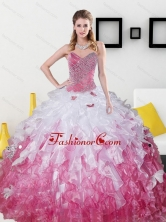 2015 Beautiful Sweetheart Sweet 15 Dresses with Beading and Ruffles QDDTC8002FOR