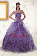 2015 Discount Purple Strapless Appliques Quinceanera Dresses XFNAO276lFOR