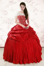 2015 Discount Sweetheart Beading Quinceanera Dresses in Red XFNAO207AFOR