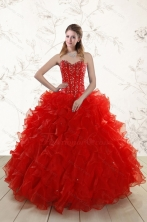 2015 Most Popular Red Quinceanera Dresses with Beading and Ruffles XFNAO5793FOR