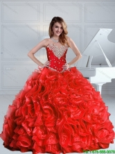 2015 Perfect Beaded and Ruffles Quinceanera Dresses in Red SJQDDT79002FOR