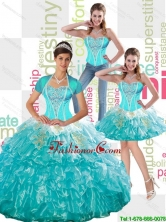 2015 Summer New Style Beaded Aqua Blue Quinceanera Dress with Ruffled Layers and Appliques SJQDDT49001FOR