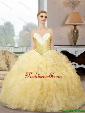 2015 Summer Pretty Sweetheart Quinceanera Dresses with Beading and Ruffles SJQDDT82002FOR