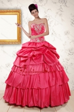 2015 The Super Hot Appliques Sweet 16 Dresses in Coral Red XFNAO154FOR