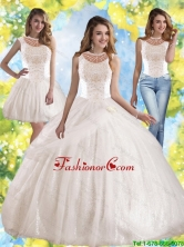 2015 Winter Perfect Hand Made Flowers and Beaded Quinceanera Dress with Bateau SJQDDT46001FOR