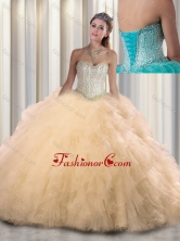 2016 Beautiful Sweetheart Beading Quinceanera Dressesin Champagne SJQDDT308002FOR