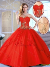 2016 Fall Cheap Appliques Sweetheart Quinceanera Gowns in Red SJQDDT142002-1FOR