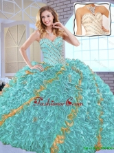 2016 Fall  Gorgeous Beading Sweet 16 Dresses with Beading and Ruffles SJQDDT147002-1FOR