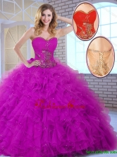 2016 Summer  New Style Ball Gown Sweetheart Quinceanera Dresses in Fuchsia SJQDDT144002FOR