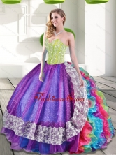 Beautifu Multi Color Sweetheart Beading and Ruffles 2015 Quinceanera Dresses QDDTA63002-3FOR