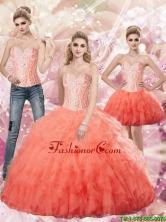 Beautiful 2015 Summer Watermlon Ball Gown Sweetheart and Beaded Quinceanera Dresses SJQDDT67001FOR