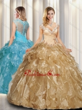 Beautiful A Line Cap Sleeves Quinceanera Dresses with Beading SJQDDT325002FOR