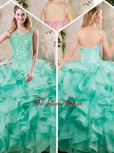 Beautiful Appliques and Ruffles Quinceanera Dresses in Turquois SJQDDT227002-3FOR