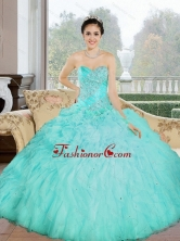 Beautiful Appliques and Ruffles Sweetheart Aqua Blue 2015 Quinceanera Dresses QDDTC42002-1FOR