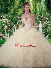 Beautiful Ball Gown Champange Sweet 16 Dresses with Beading and Ruffles SJQDDT274002FOR