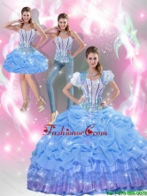 Beautiful Beaded Baby Blue Quinceanera Dresses with Appliques and Pick Ups for 2015 Summer SJQDDT40001-2FOR