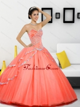 Beautiful Beading Sweetheart 2015 Quinceanera Gown in Orange Red QDDTC30002-1FOR