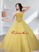 Beautiful Beading Sweetheart Gold Quinceanera Dresses for 2015 SJQDDT12002-5FOR
