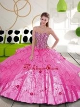 Beautiful Beading and Embroidery Hot Pink Quinceanera Dresses for 2015 QDDTA23002FOR