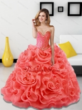 Beautiful Beading and Rolling Flowers Coral Red Quinceanera Dresses for 2015 SJQDDT18002-1FOR